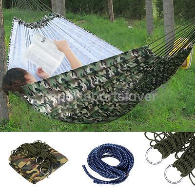 150KG Canvas Hammock Double Wide Swing Hanging Bed Outdoor Travel Yard Camo
