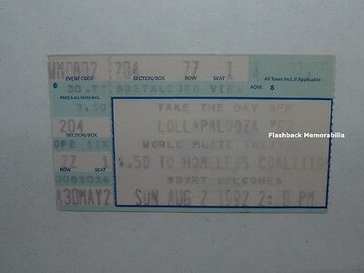 LOLLAPALOOZA 92 Ticket Stub PEARL JAM Soundgarden STP Ministry RHCP Chicago RARE