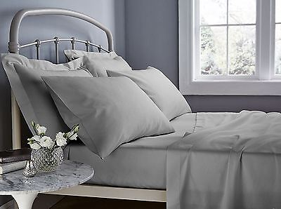 500 Thread Count Grey Double Fitted Sheet