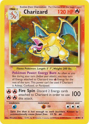 Charizard 4/102 Holo Rare Base Set Pokemon Trading Card EXC TO NEAR MINT