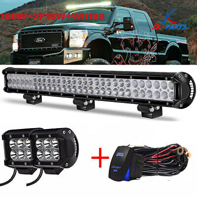 "28 30 32 inch Led Light Bar + 2x 4"" Pods Bumper For Offroad Tacoma Chevy"