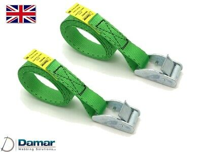 Quantity 2 - Cam buckle tie down straps 25mm wide 2mtr long Green