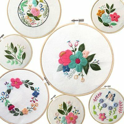 Wooden Cross Stitch Machine Embroidery Hoop Ring Bamboo Sewing Craft TM