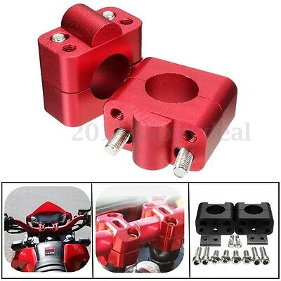 red 1 1/8'' CNC Handlebar Bar Riser Mount Clamps Adaptor 22mm to 28mm Motorcycle