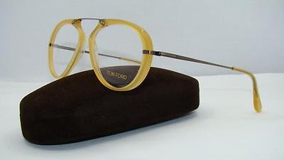 TOM FORD TF 5346 039 Crystal Shiny Yellow Pilot Frames Eyeglasses Size 53