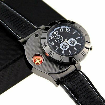 Fashion Military 2 in 1 Huayue Rechargeable USB Watch Lighter - Black