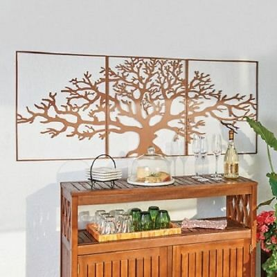 Large Tree Of Life Metal Wall Art Framed 3 Pc Set Picture Outdoor Indoor Decor S