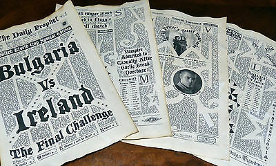 11X17inch Bulgaria vs Ireland. 4 aged pages The Daily Prophet Newspaper.