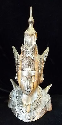 Vintage Ornate Hand Carved Wood Rattanakosin Thai like Buddha, Tibetan 8 x 4""