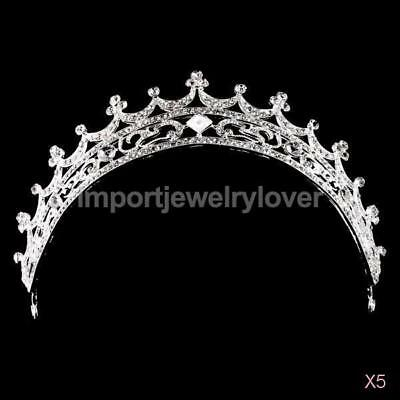 5x Bridal Princess Veil Tiara Rhinestone Moon Crown Wedding Party Prom Headband