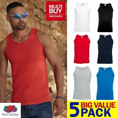 PACK OF 5 • MENS FRUIT OF THE LOOM Plain Athletic Vest Tank Top • Gym Sports