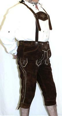 LEATHER LEDERHOSEN SHORTS + SUSPENDERS Pants German Oktoberfest Trachten BROWN