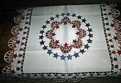 Americana Patriotic 4th of July Tablecloth Table Runner Cutwork Stars Fireworks