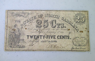 STATE OF NORTH CAROLINA 25 CENTS 1863 OBSOLETE STATE BANKNOTE - Lot AG5