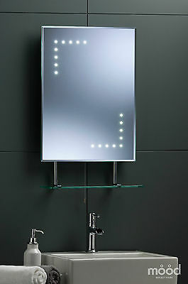 BATHROOM WALL MIRROR With Shelf & Shaver 60cm x 45cm  Led Illumination LED04