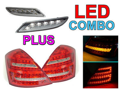Depo 2010 Look Mercedes W221 S Class Clear Led Tail+ White Led Side Marker Light