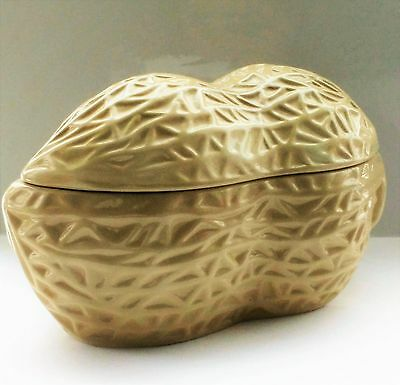 Vintage peanut shaped serving candy dish with lid