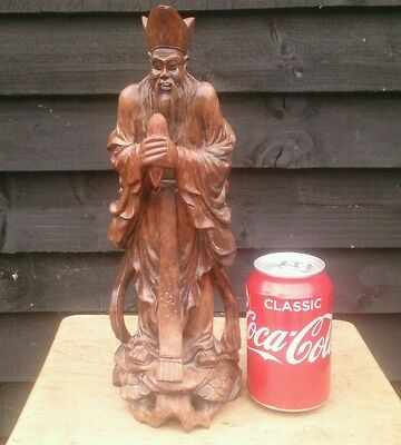 "Antique Carved Wooden Chinese Immortal / Confucius /12""/19thC early Qing"