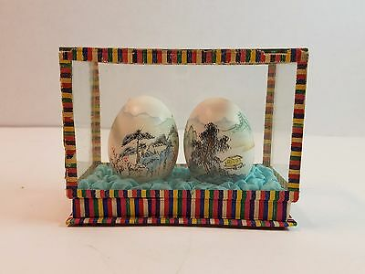 Vtg Real 2 Eggs Hand Painted Art In Glass Display Box Frame Japanese Oriental