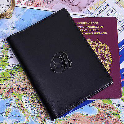 Personalised INITIAL PASSPORT COVER Passport Holder + Card Slots Faux Leather