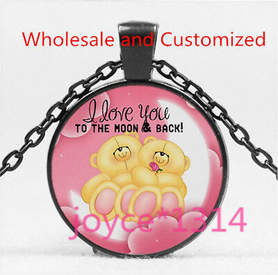 I LOVE YOU TO THE MOON AND BACK BLACK  Glass Chain Pendant Necklace HS-5997