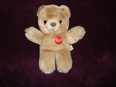 """Kraft Peanut Butter Teddy Bear Red pin back button attached Plush 7.5"""" tall"""
