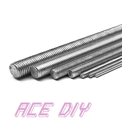 BZP Threaded Bar | 1000 mm Mild Steel Zinc Plated All Fully Thread Studding Rod