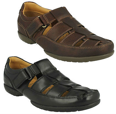 Recline Open Mens Clarks Riptape Closed Toe Wide Casual Leather Summer Sandals