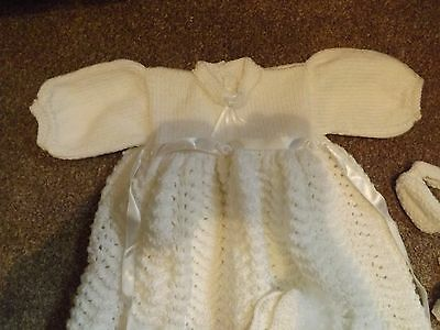 Baby Reborn 3 Piece Christening Gown   Bootee's And Bonnet 0-3 Months Beautiful