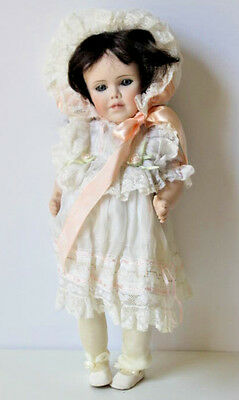 Vintage Ribbons And Ringlets Doll Porcelain white dress Rare Collectible