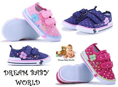 SPRING SUMMER girls canvas shoes trainers size 3.5 - 8 UK BABY INFANT Toddler