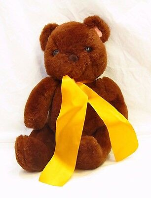"13"" Vintage 1988 Brown Fairview Teddy Bear W/ Yellow Ribbon Plush"