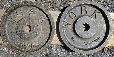 "York Barbell Milled Vintage Olympic 2"" Weight Plates 35 lbs 2x35 lb Hard To Find"