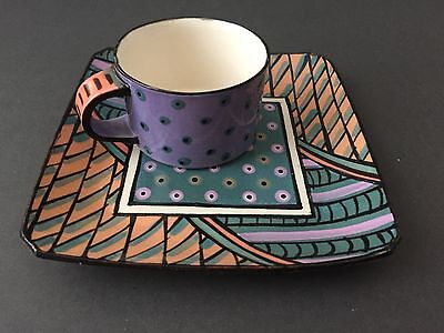 RARE Dorothy Hafner Art Pottery Hand Painted Cup & Plate Set Signed 1980 -1988