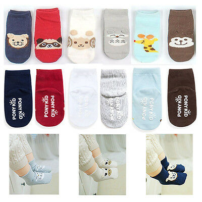 Cute 6 Pack Of Animal Baby Socks Boys Girls 3-12 Months Anti Slip Grips Socks