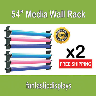 "54"" Wall Media Storage Rack Vinyl Rolls / Fabric - Set of 2 for Sign Print Shop"