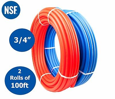 "2 Rolls 3/4"" x 100ft PEX Tubing For Potable Water Non-barrier Combo (Red + Blue)"