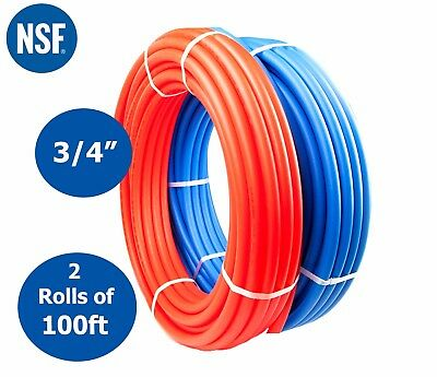 """3/4"""" x 100 feet PEX Tubing Pipe For Potable Water Non Oxyegen Barrier Red & Blue"""
