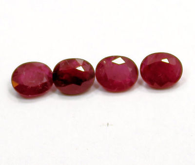 Colourful Set of 4  Oval Cut  Red Ruby 3.17 Carat
