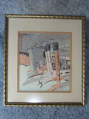 Japanese Watercolor Scroll Signed and Architectual colorful