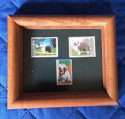 Custom Framed Old English Sheepdog Sheep Dog Stamps
