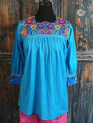 Turquoise Floral New Style Blouse Mayan Chiapas Mexico, Hippie, Cowgirl Santa Fe