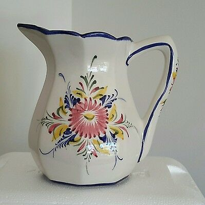 """Rccl Hand Painted 6 1/2"""" Floral Pitcher Made In Portugal Euc Free Shipping"""