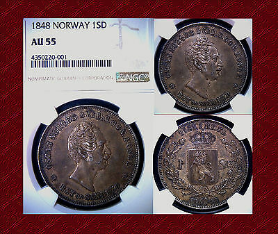 1848 Norway 1 Specie Daler NGC AU55 1SD Low Mintage