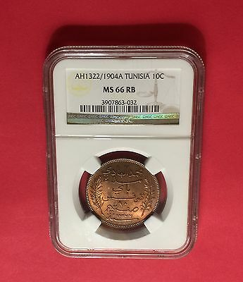 TUNISIA -AH1322/1904-A ,10 CENTIMES, NGC-MS 66 RB.rare in this high grading.