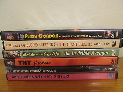 Lot of 6 Various B MOVIE DVD's - Mint - Bucket of Blood / Bride of the Gorilla +