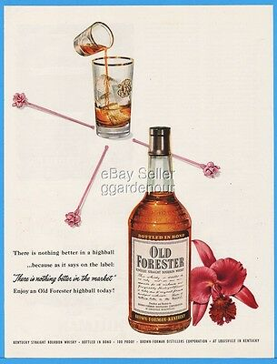1953 Old Forester Brown Forman Louisville KY Highball Orchid 50s Cocktail Ad