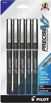 5 PILOT PRECISE V7 BLACK  INK Liquid Ink Rollerball Pens 0.7mm. Fine Point