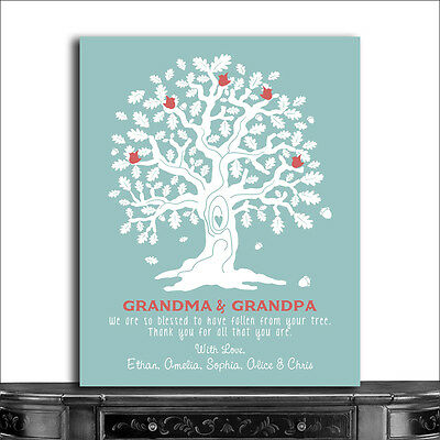 (CWA-1058) Personalized Grandma And Grandpa Oak Tree And Acorns So Blessed Tu...