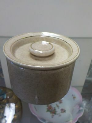 Vintage Wisconsin Porcelain Butter Cheese Crock Covered Dish Heavy